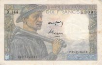 France 10 Francs Miner - 30-10-1947 Serial X.144 - F to VF
