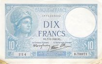 France 10 Francs Minerva - 07-11-1940 Serial D.78971 - VF to XF