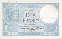 France 10 Francs Minerva - 09-01-1941 Serial J.83247 - F+