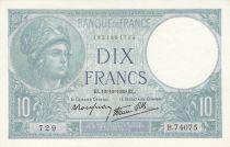 France 10 Francs Minerva - 12-10-1939 - Serial B.74075