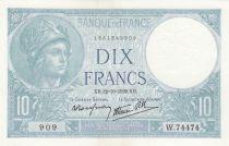 France 10 Francs Minerva - 12-10-1939 - Serial W.74474