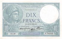 France 10 Francs Minerva - 12-10-1939 Serial F.74335 - XF
