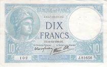France 10 Francs Minerva - 12-12-1940 Serial J.81656 - VF
