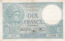 France 10 Francs Minerva - 14-09-1939 Serial J.71858 - VF