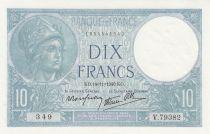 France 10 Francs Minerva - 14-11-1941 - Serial V.79382