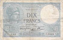 France 10 Francs Minerva - 16-01-1941 Serial F.83884 - VG to F