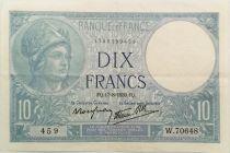 France 10 Francs Minerva - 17-08-1939 Serial W.70648 - VF+
