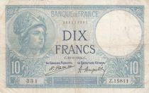 France 10 Francs Minerva - 18-09-1928 Serial Z.15811 - FINE