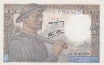 France 10 Francs Minerva - 19-11-1942 - Serial E.17