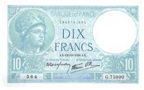 France 10 Francs Minerva - 1939-10-12 Serial G.73990