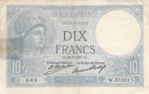 France 10 Francs Minerva - 26-03-1931 Serial W.57051 - F