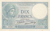 France 10 Francs Minerva - 27-03-1928 Serial K.50463 - VF