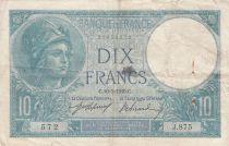 France 10 Francs Minerva  10-05-1916 - Serial J.875 - Fine to VF