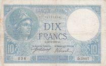 France 10 Francs Minerva  26-02-1917 - Serial D.2807 - Fine