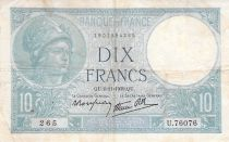 France 10 Francs Minerve - 02-11-1939 Série U.76076 - TB+