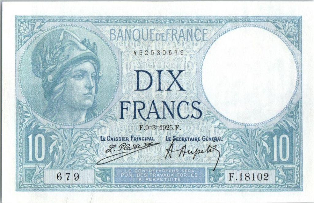 France 10 Francs Minerve - 09-03-1925 Série F.18102