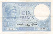 France 10 Francs Minerve - 09-11-1941 Série Y.83192 - PTTB