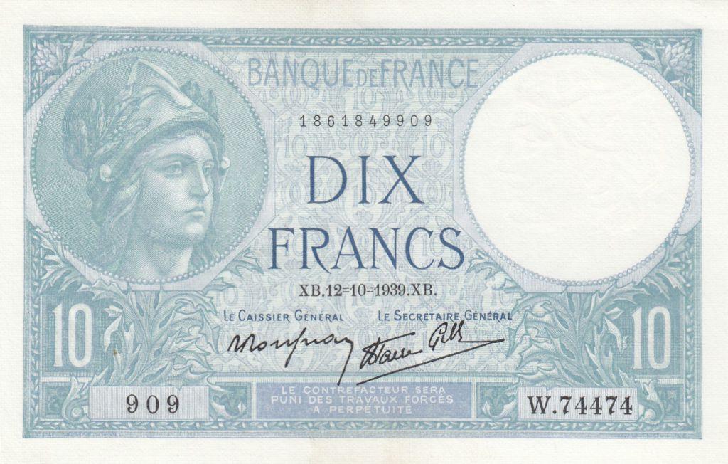 France 10 Francs Minerve - 12-10-1939 - Série W.74474