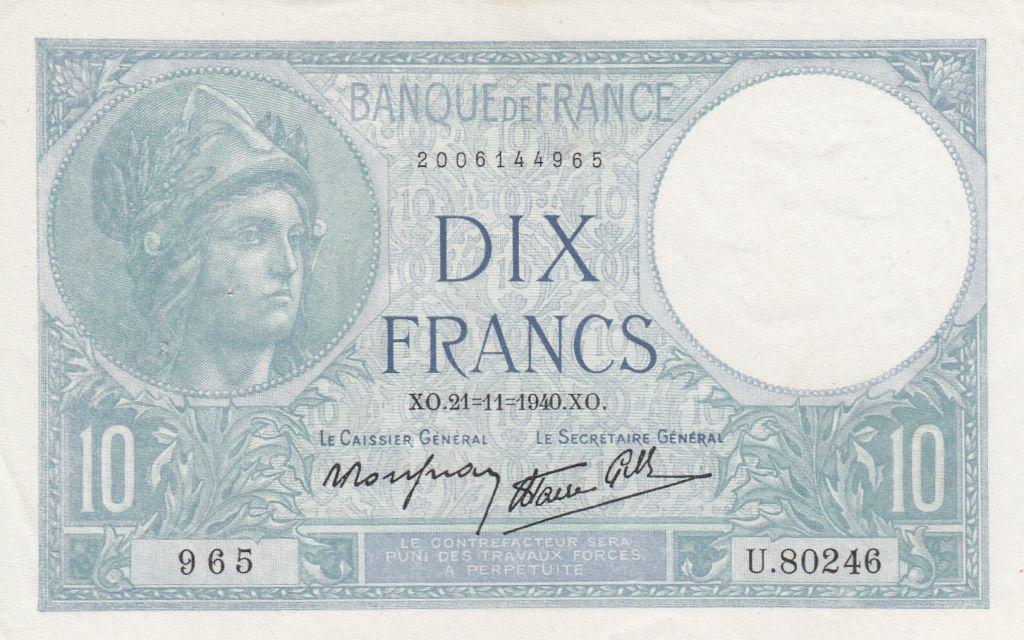 billet de banque 10 francs 1939