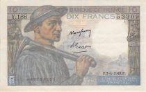 France 10 Francs Mineur - 07-04-1949 Série Y.188 - TTB