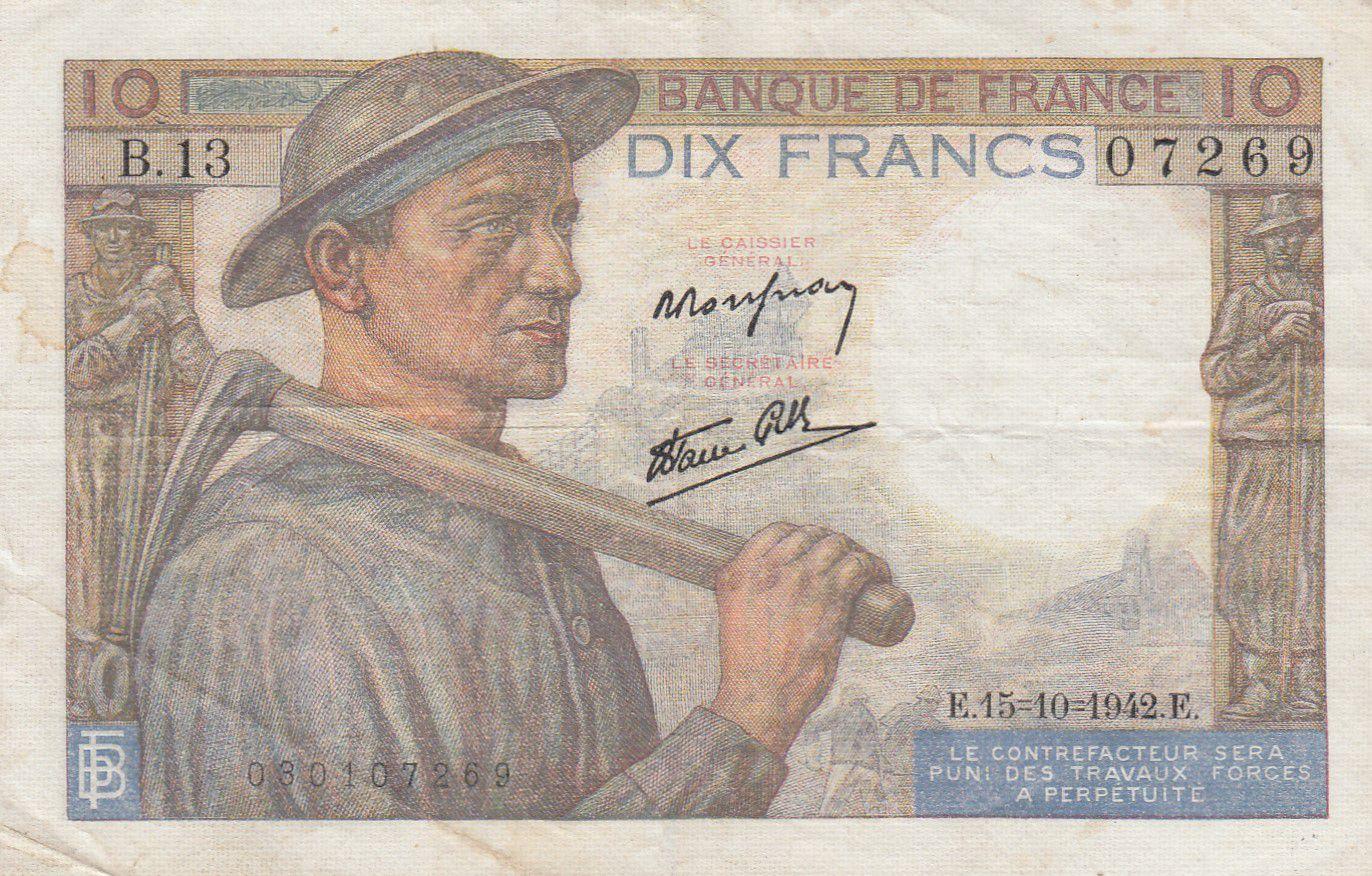 France 10 Francs Mineur - 15-10-1942 Série B.13 - TTB