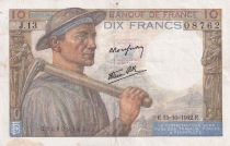 France 10 Francs Mineur - 15-10-1942 Série J.13 - TTB