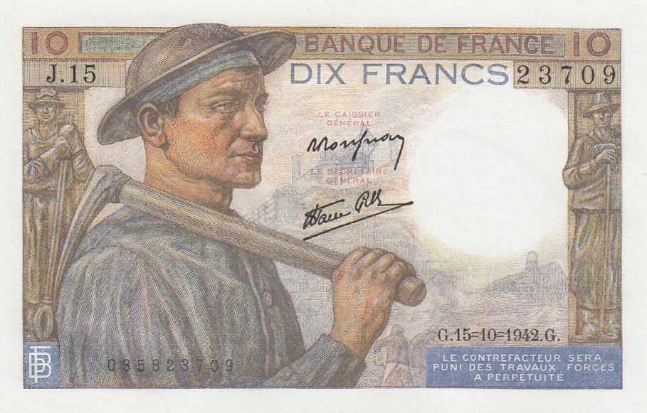 France 10 Francs Mineur - 15-10-1942 Série J.15