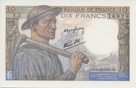 France 10 Francs Mineur - 1941