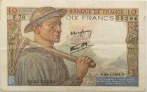 France 10 Francs Mineur - 20-01-1944 Série F.78 - TTB