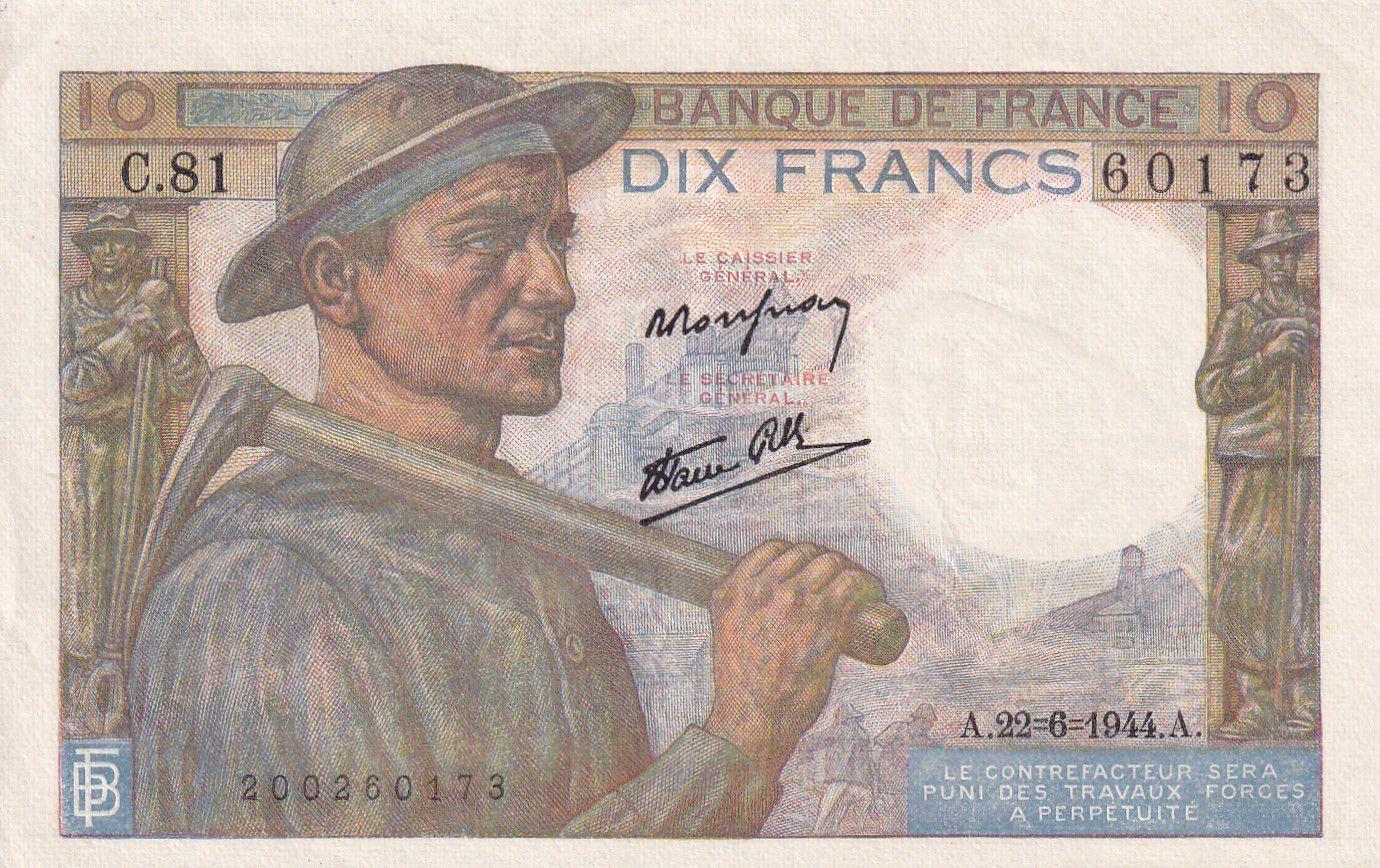 France 10 Francs Mineur - 22-06-1944 Série C.81 - SUP+