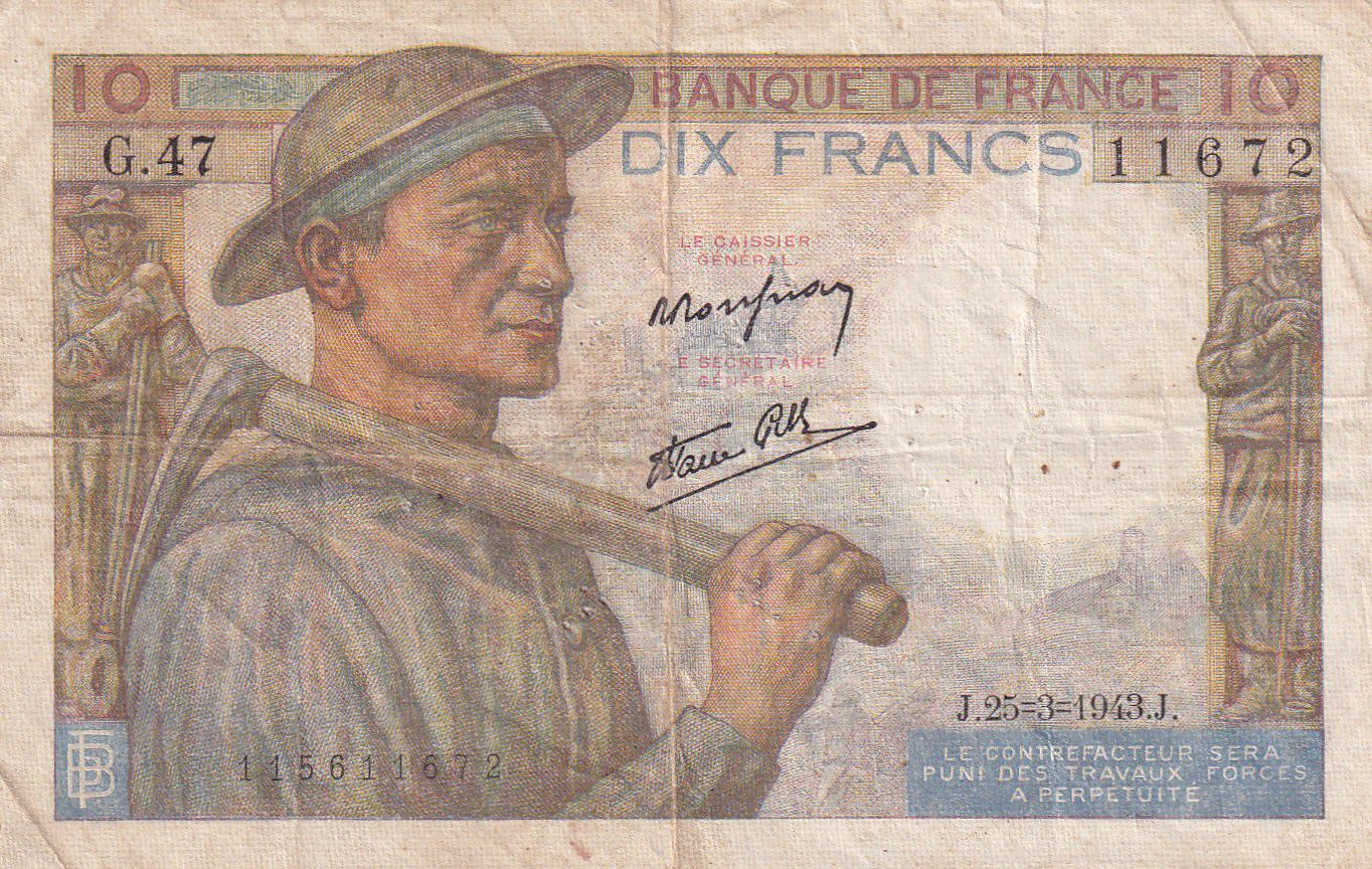 France 10 Francs Mineur - 25-03-1943 Série G.47 - TTB