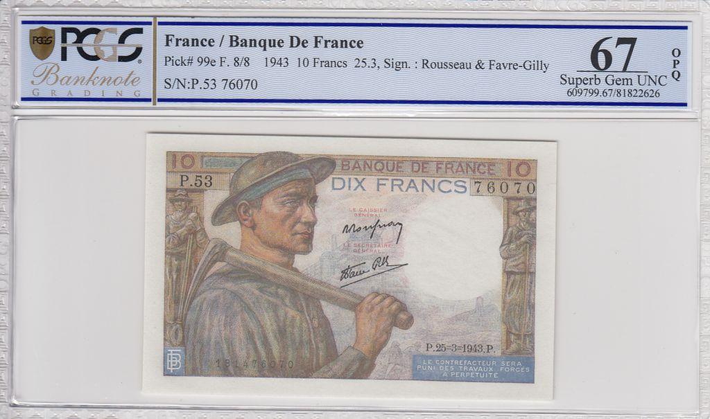 France 10 Francs Mineur - 25-03-1943 Série P.53   -  PCGS 67 OPQ