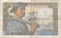 France 10 Francs Mineur - 26-11-1942 Série O.29 - TB+