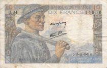 France 10 Francs Mineur - 26-11-1942 Série U.34 - B+