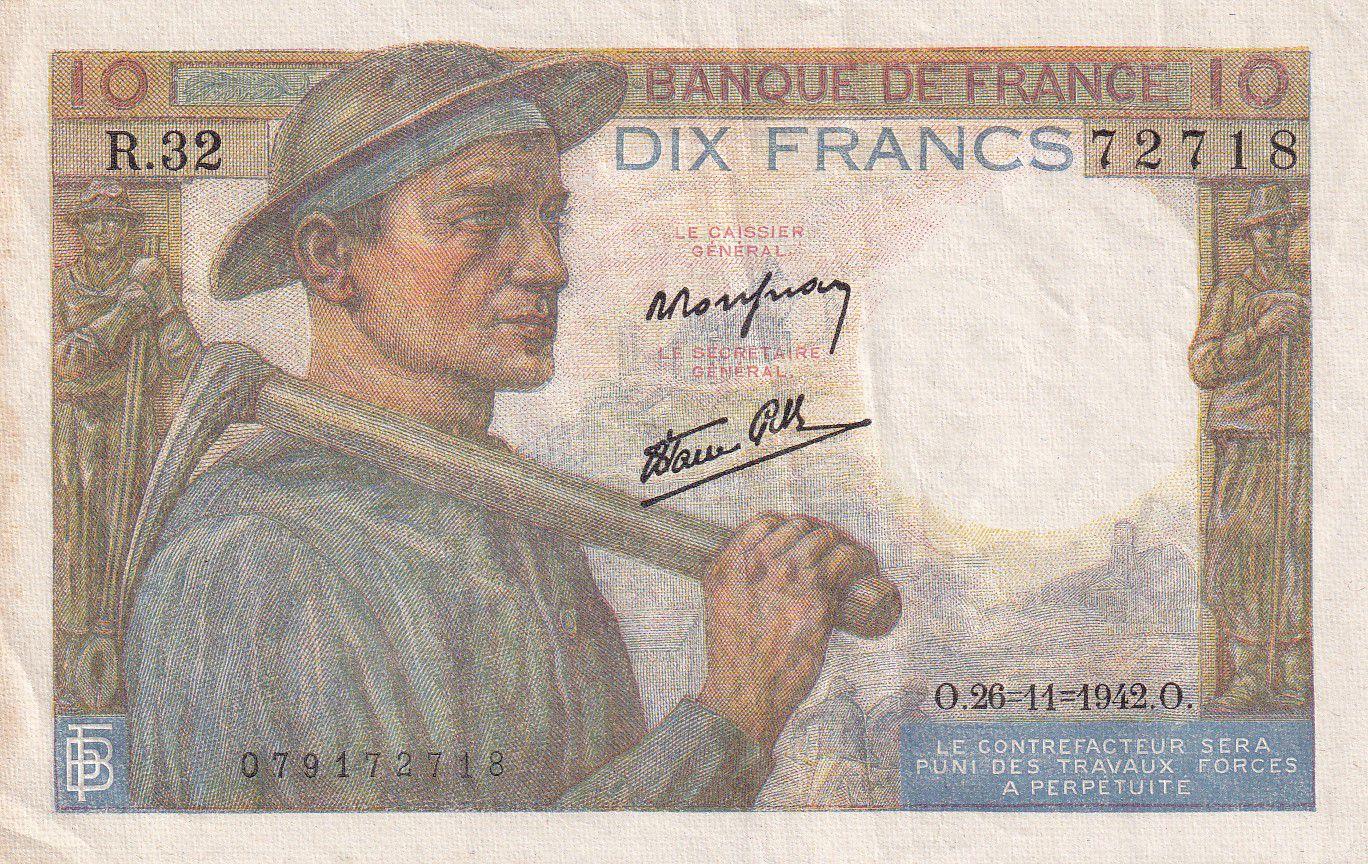 France 10 Francs Mineur - 26-11-1942 SérieR.32 - TTB