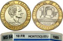 France 10 Francs Montesquieu - 1989 Frappe Courante - Bimetal - MS 64 - GENI