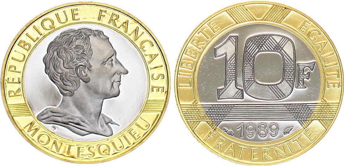 France 10 Francs Montesquieu Or  BE - 1989 - sans coffret