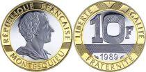 France 10 Francs Montesquieu Or  BE - 1989