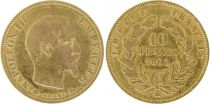 France 10 Francs Napoléon III - Tête nue 1860 BB Strasbourg Or