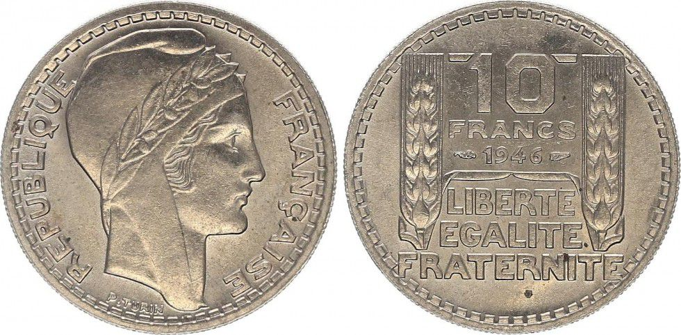 France 10 Francs Turin - 1946 rameaux courts