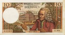 France 10 Francs Voltaire - 02-11-1967 Serial E.364 - VF