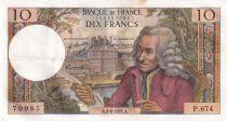 France 10 Francs Voltaire - 03-06-1971 - Série P.674 - TTB+