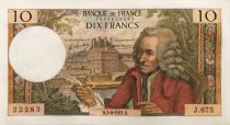 France 10 Francs Voltaire - 03-06-1971 Serial J.675 - XF