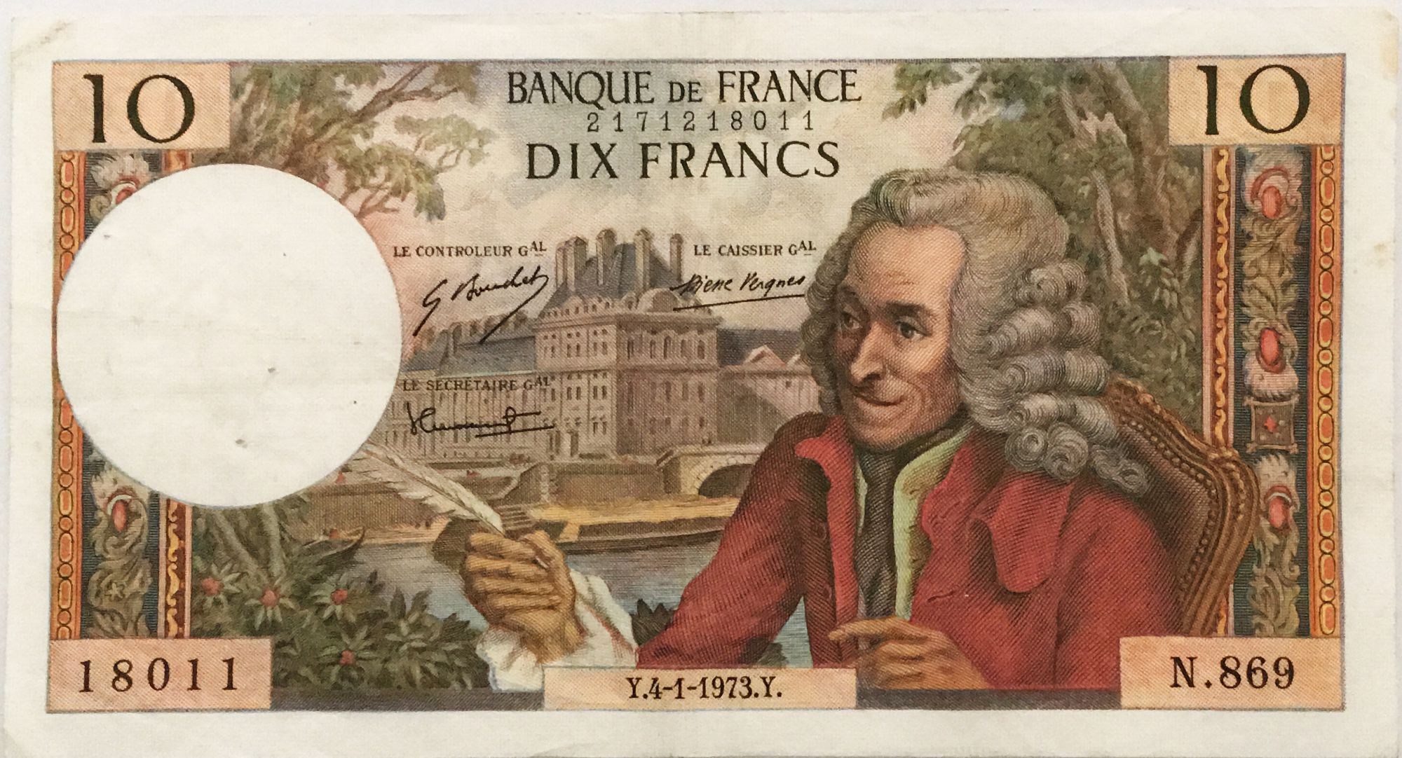 France 10 Francs Voltaire - 04-01-1973 Serial N.869 - VF