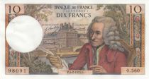 France 10 Francs Voltaire - 05-02-1970 Serial O.560 - XF+