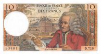 France 10 Francs Voltaire - 05-11-1971 Serial D.719 - AU