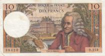 France 10 Francs Voltaire - 06-01-1966 Serial D.213 - F to VF