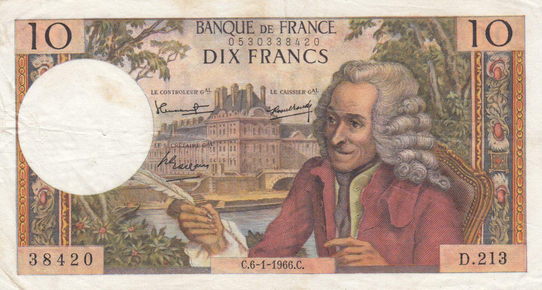 France 10 Francs Voltaire - 06-01-1966 Série D.213 - PTTB