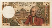 France 10 Francs Voltaire - 06-03-1969 Serial E.481 - VF