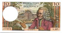 France 10 Francs Voltaire - 07-06-1973 Serial G.887